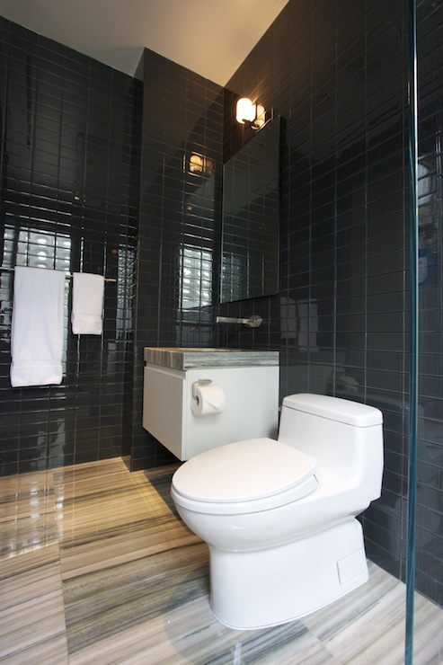 Black glass subway tiles contemporary bathroom for Black glass bathroom accessories