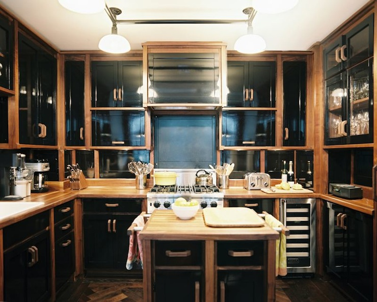 High gloss kitchen cabinets eclectic kitchen for Black and brown kitchen cabinets
