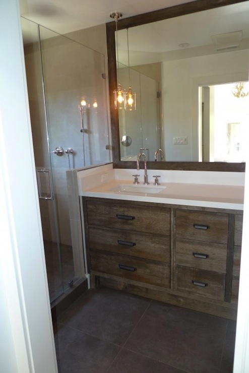 Distressed bathroom vanity contemporary bathroom for Rustic modern bathroom ideas