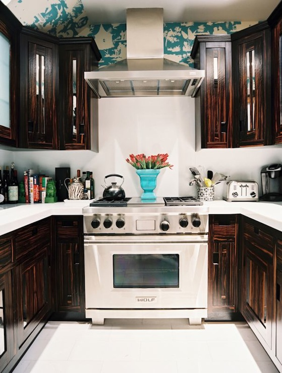 Dark Chocolate Cabinets Eclectic Kitchen Lonny Magazine
