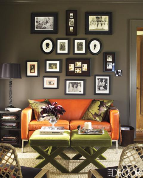 Grey Living Room With Orange Chair: Contemporary