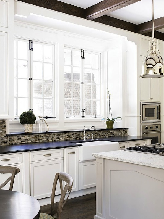 French Windows Transitional Kitchen Sherwin Williams Alabaster Brian Watford Interiors