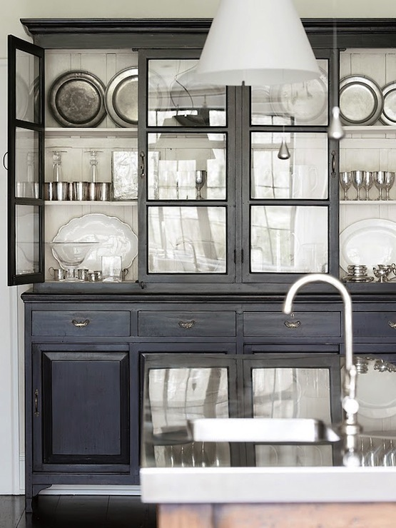 Gorgeous Black Rustic Cabinet Glass Front Hutch And Kitchen Island