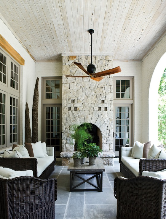 Patio Fireplace Ideas - Transitional - deck/patio - Beth ...