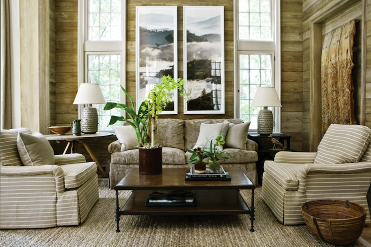striped living room chairs.  living room design with rustic wood paneled walls rectangular coffee table woven baskets microfiber gray sofa and white beige striped chairs Gray Striped Living Room Chairs Design Ideas