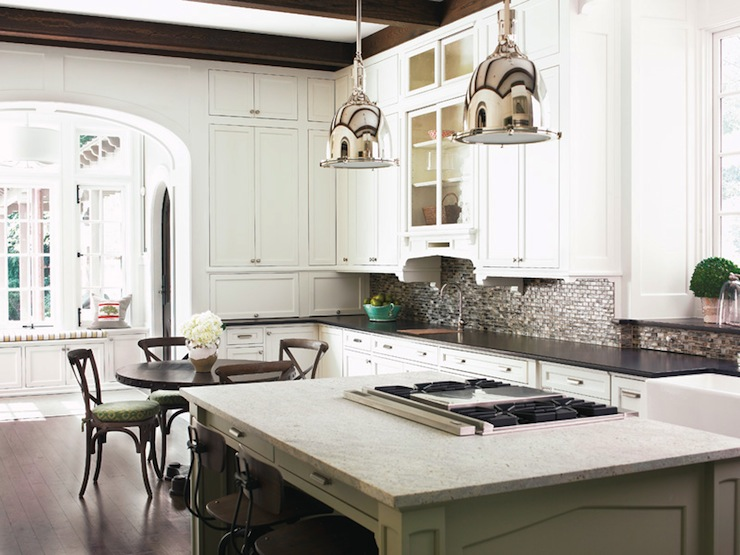 large open white kitchen design with espresso stained wood beams white kitchen cabinets painted sherwin williams alabaster soapstone counter tops     sherwin williams alabaster design ideas  rh   decorpad com