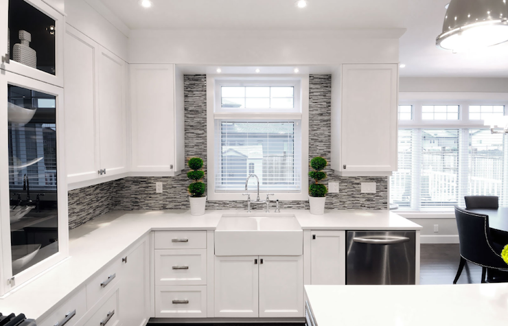 modern white gray open kitchen design with creamy white ikea kitchen cabinets with brushed nickel pulls hardware farmhouse sink gigis groovy stixx gray - Modern Kitchen White Cabinets