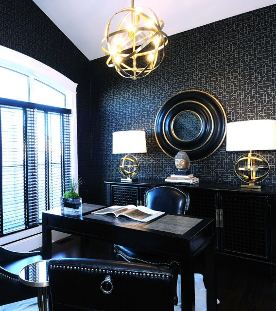 Black Office, Contemporary, den/library/office, Atmosphere Interior Design