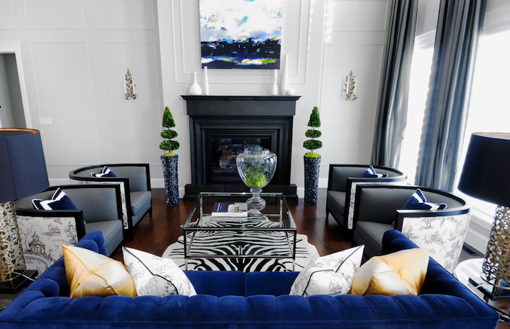 Blue Velvet Sofa Contemporary Living Room Atmosphere Interior Design