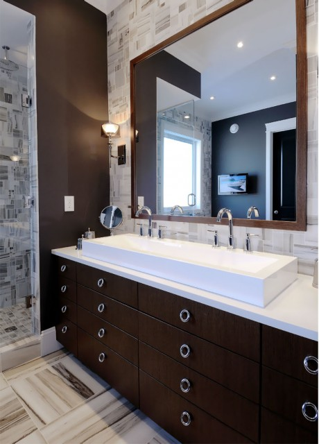 espresso cabinets contemporary bathroom atmosphere