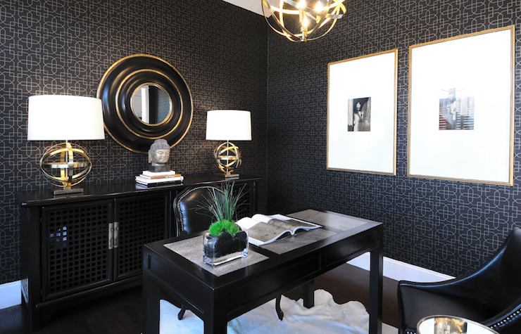 Black office contemporary den library office for Asian office decor