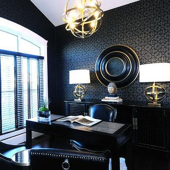 Black Office, Contemporary, den/library/office, Atmosphere Interior Design
