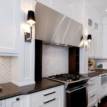 White Marble Backsplash, Contemporary, kitchen, Atmosphere Interior Design
