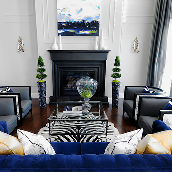 Indigo Blue Sofa Contemporary Living Room Erin Gates