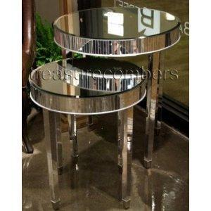Amazon Com Round Mirrored Side Accent End Tables Set Of