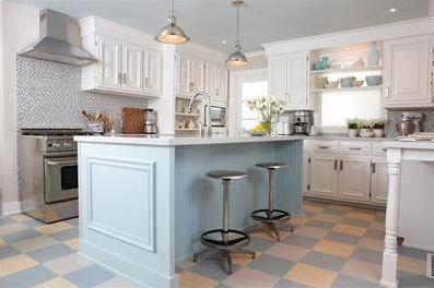 Blue kitchen island cottage kitchen sarah richardson for What kind of paint to use on kitchen cabinets for bar themed wall art