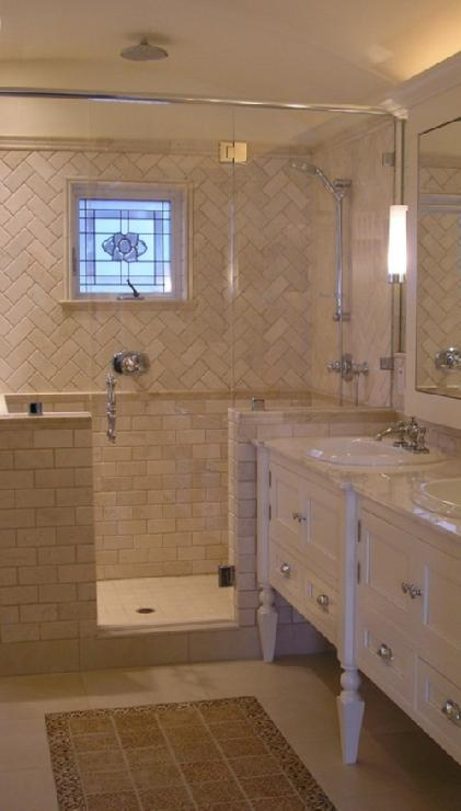 Bathroom Pattern Tiles : Chevron tiles transitional bathroom design moe