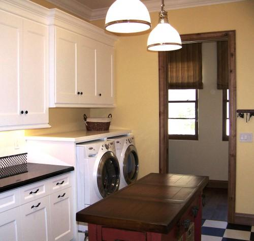 Yellow Laundry Room Cabinets Design Ideas