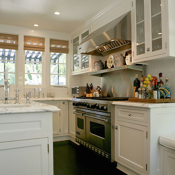 White Kitchen Cabinets with dark Wood Floors, Transitional, kitchen, Jeneration Interiors