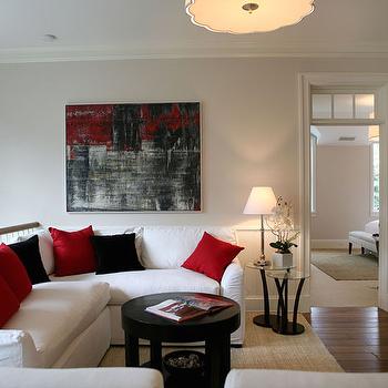 Second Floor Family Room View Full Size. White Red Black Living Room Design  ...