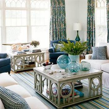 Cottage Living Room, Cottage, living room, Benjamin Moore crystal blue, House Beautiful