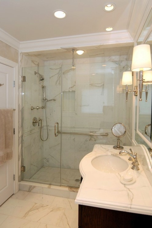 Calcutta Marble Floor Transitional Bathroom Ami Designs