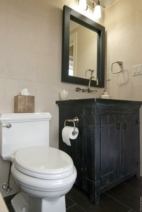 Black Rustic Bathroom Design With Charcoal Gray Slate Tiles Floor, Rustic  Black Bathroom Chest Vanity Washstand, Black Rectangular Mirror And Ivory  Stone ...