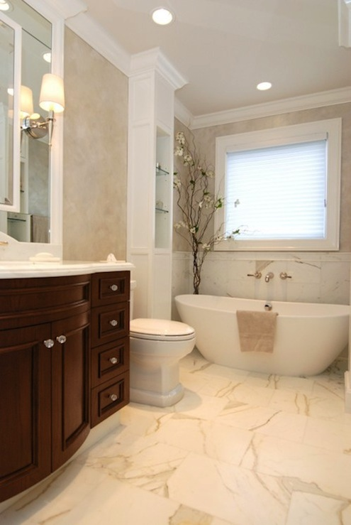 Calcutta marble transitional bathroom house beautiful for Master bathroom marble tile