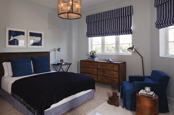 Blue And Brown Striped Bedroom blue and brown boy's room - contemporary - boy's room - lauren