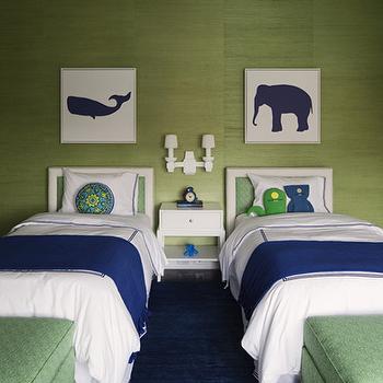 Green Grasscloth, Contemporary, living room, Lauren Stern Design