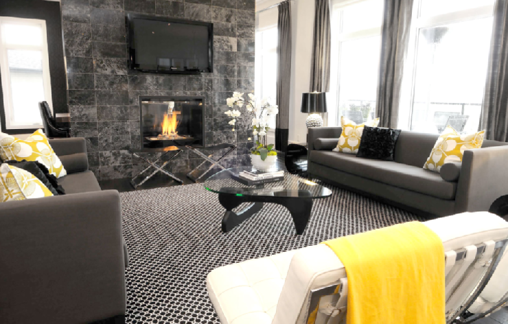Chic, Modern Yellow Gray U0026 Black Living Room Design With Black Marble  Fireplace, Black Noguchi Table, Charcoal Gray Modern Sofas, White Leather  Barcelona ...