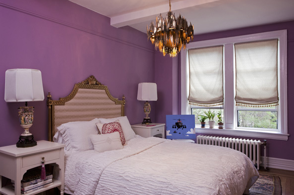 purple walls eclectic bedroom design
