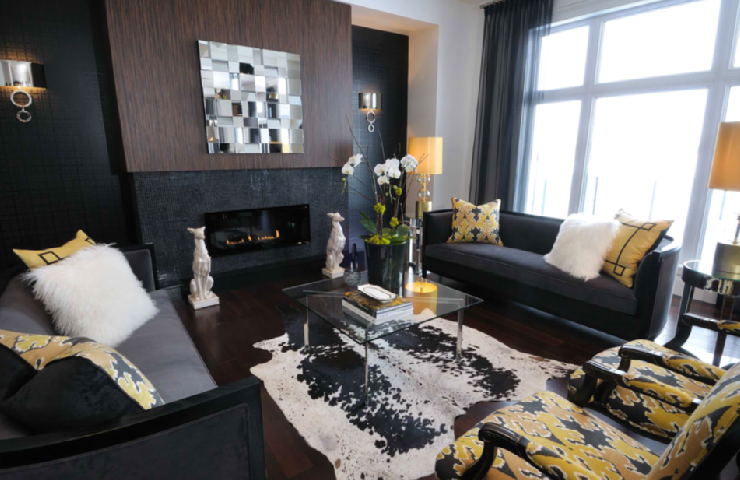 Yellow and Black Living Room - Contemporary - living room ...