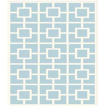 Labyrinth Blue Cotton Loop Pile Rug