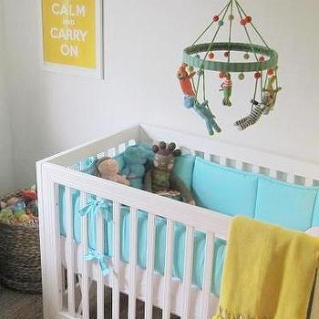 Turquoise Crib Bumper, Transitional, nursery, Elizabeth Sullivan Design