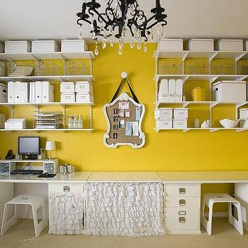 Craft room ideas eclectic den library office 4 men 1 Bright yellow wall paint