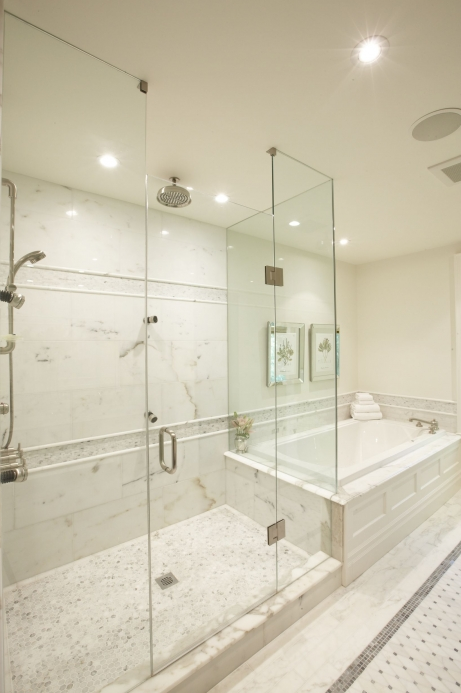 Master bathshower designs transitional bathroom for Carrara marble bathroom floor designs