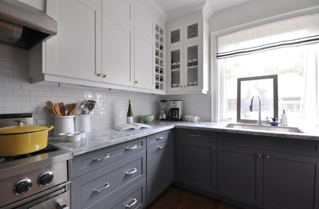 White upper cabinets dark lower cabinets contemporary for Grey and white kitchen cabinets