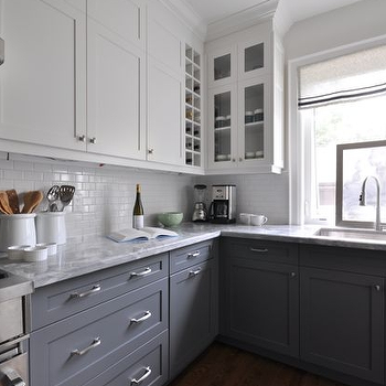 White Upper Cabinets Gray Lower Cabinets Design Ideas - Gray lower cabinets