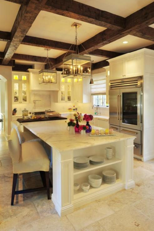 Exposed Beams Ceiling, Transitional, kitchen, Benjamin Moore Calm, Beckwith Interiors