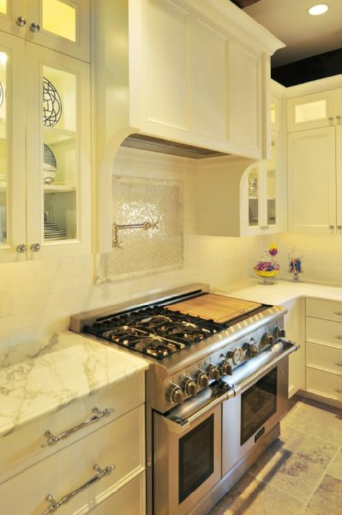 Mosaic Cooktop Backsplash Transitional Kitchen