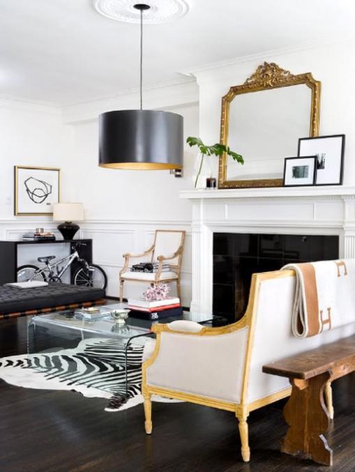 Zebra bench transitional living room for Living room zebra design