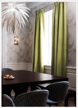 Dining Room With Green Curtains