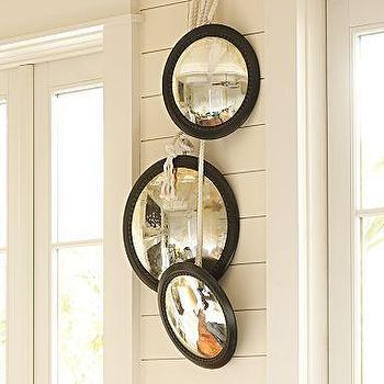 Set Of 3 Round Wood Mirrors