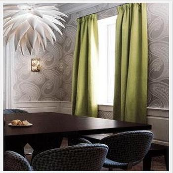 View Full Size Dining Room With Green Curtains