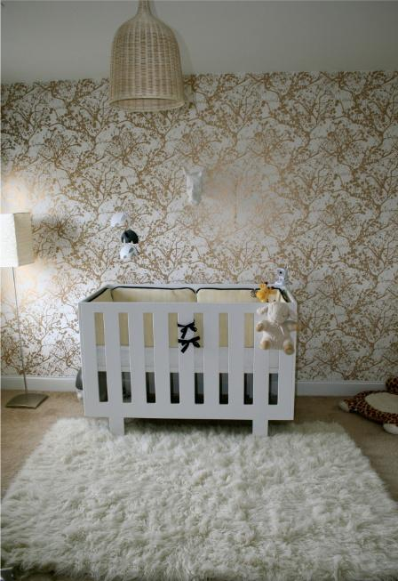 white and gold wallpaper contemporary nursery layers