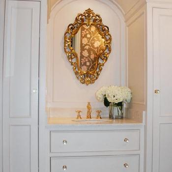 Ornate Gold Mirror, French, bathroom, Benjamin Moore navajo white, CJB Designs