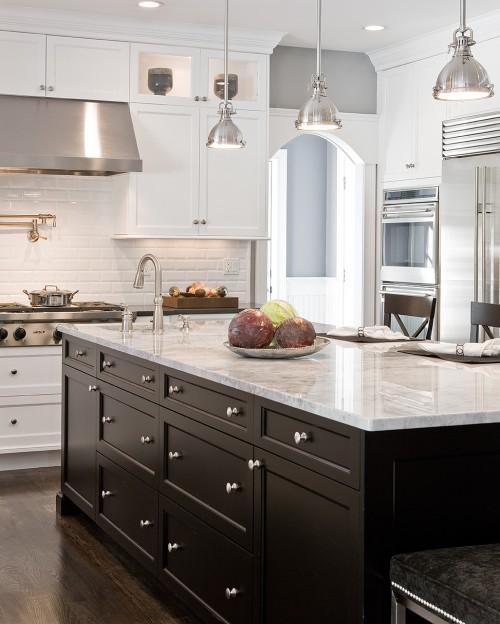 Transitional Kitchens With White Cabinets: Supreme White Quartzite