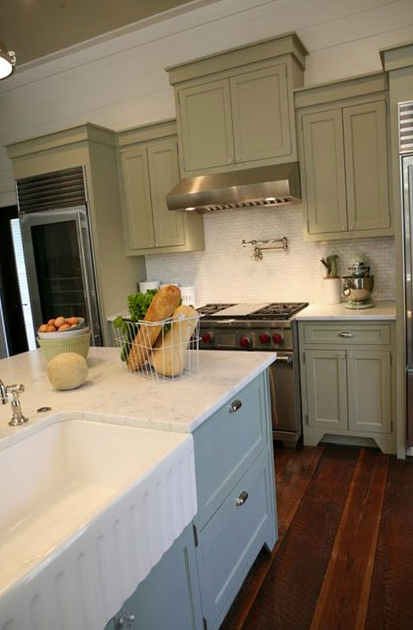 Gray green cabinets cottage kitchen urban grace for Grey and green kitchen