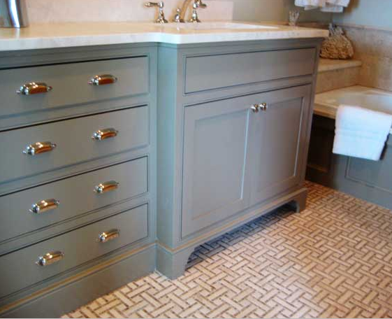 Gray bathroom vanity cottage bathroom urban grace for Bathroom ideas grey vanity